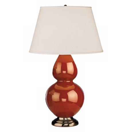 "Robert Abbey 31"" Cinnamon Brown Ceramic and Silver Lamp"