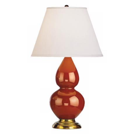 "Robert Abbey 22 3/4"" Cinnamon Brown Ceramic and Brass Lamp"