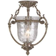 "Etched Glass Aged Silver 13"" High Ceiling Fixture"