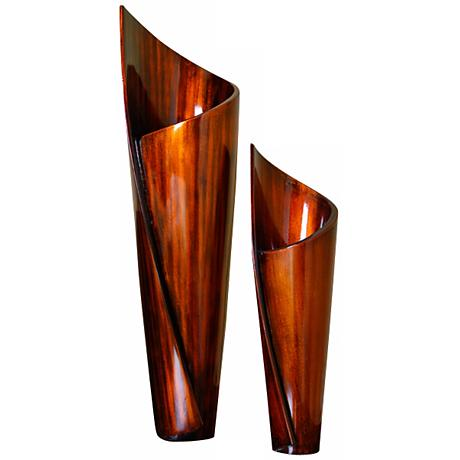 Paper Twist Copper Black Honey Lacquer Vases Set of 2