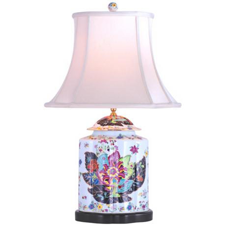 Porcelain Scallops Tobacco Tea Jar Table Lamp