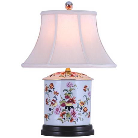 Pomegranate Oval Porcelain Jar Table Lamp