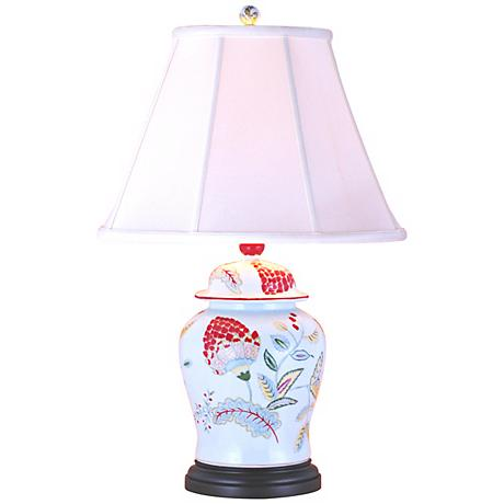 Lotus Flower Porcelain Temple Jar Table Lamp