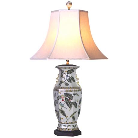 Leaf Motif Hexagonal Porcelain Vase Table Lamp