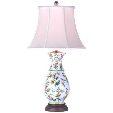 Tulip Flower Porcelain Gourd Vase Table Lamp