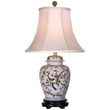 Song Birds Porcelain Temple Jar Table Lamp