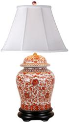 Asian Porcelain Table Lamp in Coral