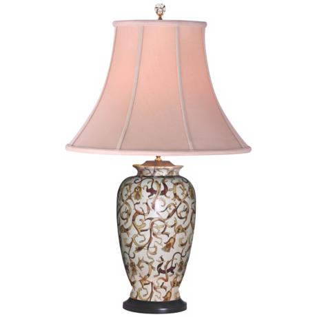 Vine Motif Porcelain Vase Table Lamp