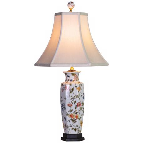 Floral Porcelain Slim Vase Table Lamp