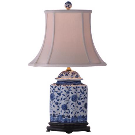 Floral Blue and White Scalloped Porcelain Vase Table Lamp