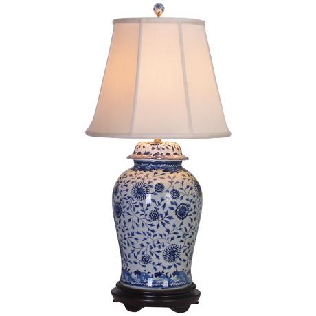 Blue and White Floral Porcelain Temple Jar Table Lamp