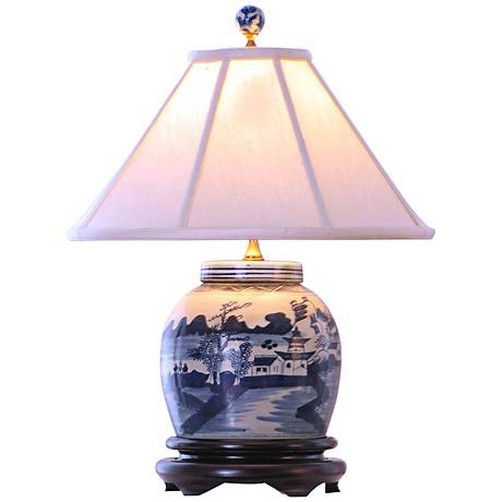 Canton Blue and White Porcelain Jar Table Lamp