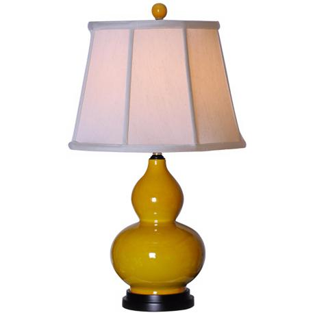Golden Yellow Porcelain Gourd Base Table Lamp