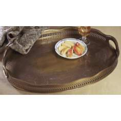 Antique Brass Oval Serving Tray