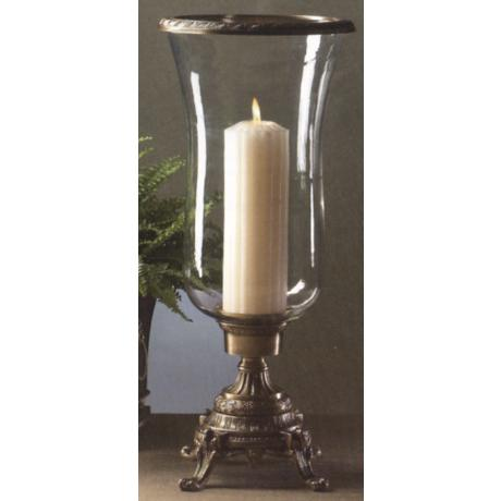 "Antique Brass 21"" High Hurricane Candle Holder"