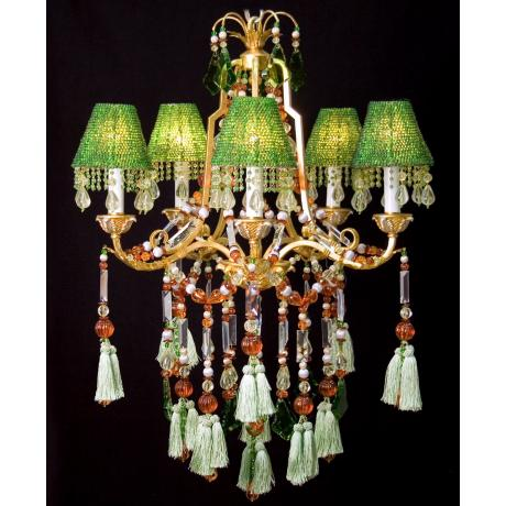 Green Beads and Gold Finish Five Light Chandelier