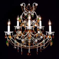 Green & Amber Crystal Beaded Six Light Chandelier