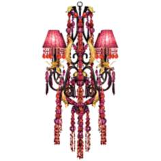 Red and Purple Crystal and Glass Four Light Chandelier