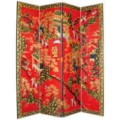 Oriental Village Hand-Painted Japanese Room Divider Screen