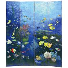 Ocean Life 4-Panel Room Divider Screen