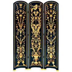 Traditional Black with Gold Hand Painted Screen