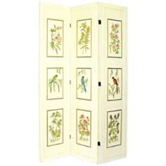 Crackle Flowers and Birds 3-Panel Room Divider Screen