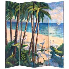 Tropical Beach Hand Painted Screen