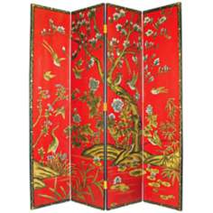 Tree of Life Hand-Painted Japanese Room Divider Screen