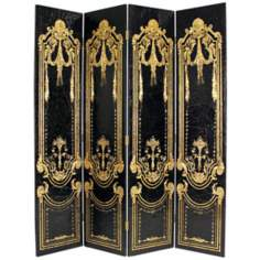 Carving With Gold Paint Four Panel Screen Room Divider