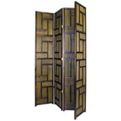 Strawmat Four Panel Room Divider
