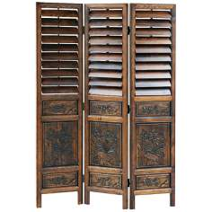 Hand-Carved Adjustable Louver Wood Room Divider Screen