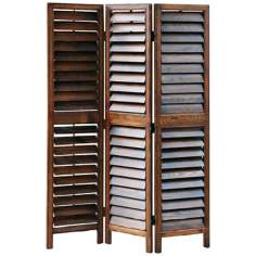 Louvered 3-Panel Dark Wood Room Divider Screen