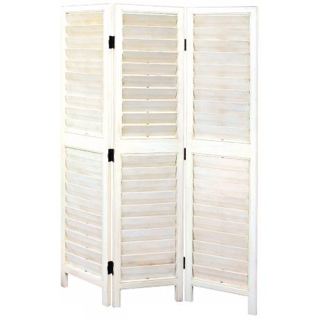 White Painted Louvered Three Panel Wood Screen