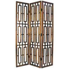 Special Walnut 3-Panel Wood Room Divider Screen