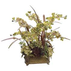 Faux Floral Potted Plants Phalaenopsis Orchid and Hydrangea