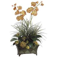 Orchid and Grass Faux Flower Arrangement
