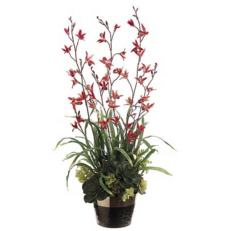 "Dendrobium and Succulent 38"" High Faux Flower Arrangement"