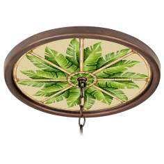 "Pacific Palm 16"" Wide Bronze 1"" Opening Medallion"