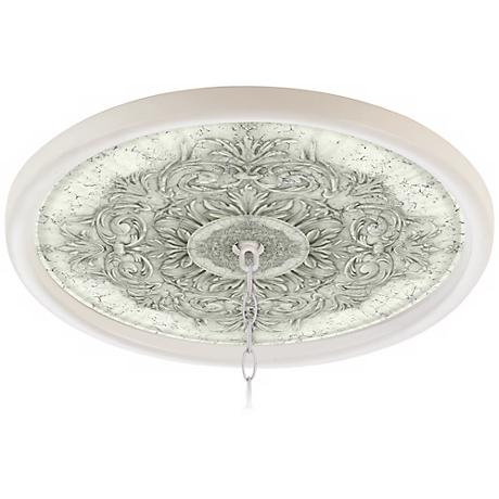 "Antiquity Stone 16"" Wide White 1"" Opening Medallion"