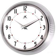 Retro Round Silver Finish Metal Wall Clock