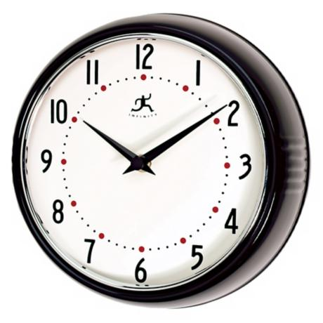 "Black Retro Round Metal 9 1/2"" Wide Wall Clock"