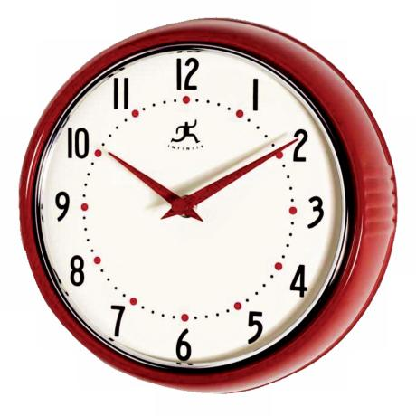 "Red Retro Round Metal 9 1/2"" Wide Wall Clock"