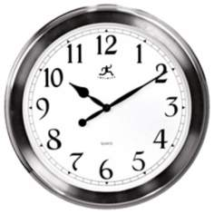 "Faux Brushed Nickel Finish 20"" Wide Wall Clock"
