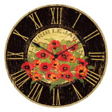 Le Jardin Red Poppy Wall Clock
