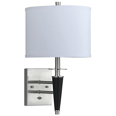 Brushed Steel  Black Plug-In Wall Lamp