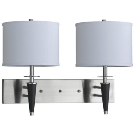 Brushed Steel Black Plug-In Double Wall Lamp
