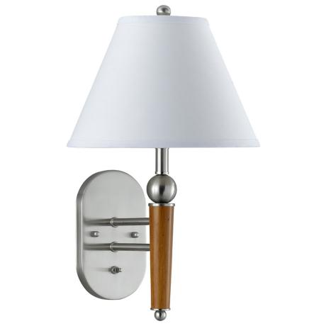 Wood Brushed Steel Metal Plug-In Wall Lamp