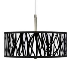 Black Jagged Stripes Giclee Pendant Chandelier