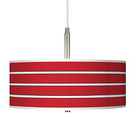 Bold Red Stripe Giclee Pendant Chandelier