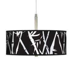 Night Bamboo Giclee Brushed Steel Contemporary Pendant Light